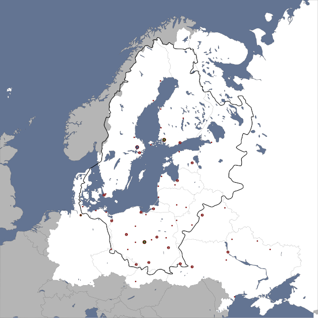 Map of the Baltic Sea Region with the member universities