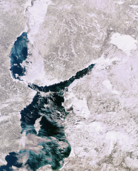 The Baltic Sea from Space at winter