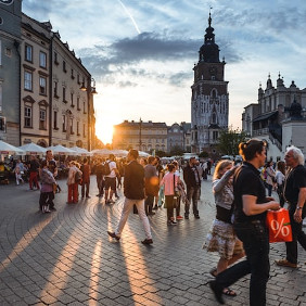 People at a sqare in Cracow